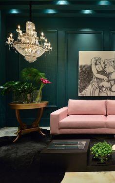 Pink and dark greens, off centered chandelier... // Lounge Casa Cor RS - Tempo da Delicadeza