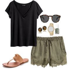 green shorts by kcunningham1 on Polyvore featuring H&M, Joie, Kate Spade, Carolee, Illesteva and Essie