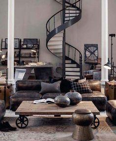 Industrial living room steel black rough