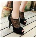 Sexy Black Peep-toe Platform Heels with Lace
