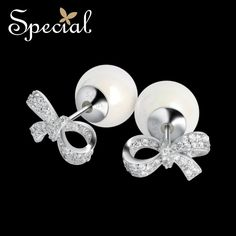 Special Brand New Fashion 925 Sterling Silver Stud Earrings Shell Beads Double Side Ear Pins Jewelry Gifts for Women S1653E
