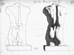 """Charles Bargue - """"Torso, Plate 1, No. 56 from 'Cours de Dessin' (Drawing Course)"""" - (French, 1826 - 1883) Drawing, Charcoal on Wove Paper, c.1860's"""