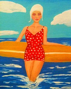 1950's Swimmer Art Print Painting Red Bathing suit by LeighsArt, $22.00