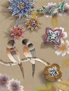 Luminous embroidered birds linger on the walls in 'Vogue with misha handmade wallpaper'