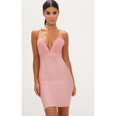 Dusty Rose Lace Top Cross Back Plunge Bandage Bodycon Dress ($53) ❤ liked on Polyvore featuring dresses, dusty pink, red lace dress, bandage bodycon dress, lace cocktail dress, red bodycon dress and lace-up dresses