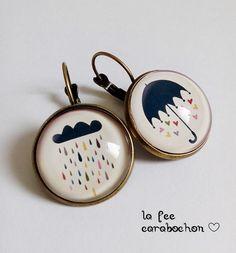 boucles d'oreilles dormeuses * singing in the rain! * parapluie pluie nuage coeur, cabochon verre