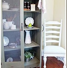 ADD SCREEN DOORS TO A BOOK SHELF AND HAVE A PIE SAFE Armoire turned Kitchen Storage @ recapturedcharm.com