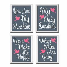 Bird Birdie Navy Blue Pink You Are My Sunshine Quote Nursery Song Print Artwork Set of 4 Prints Wall Decor Art Picture
