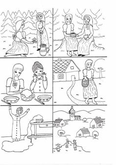 Hrnečku vař - posloupnost Sequencing Pictures, Story Sequencing, Coloring Sheets, Coloring Pages, Sequence Of Events, Stories For Kids, Storytelling, Literacy, Fairy Tales