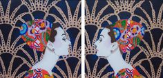 """""""Audrey With Gucci Headdress And Art Deco Damask Background Diptych"""" 24 x 24 Acrylic and mixed media on canvas, heavy resin."""