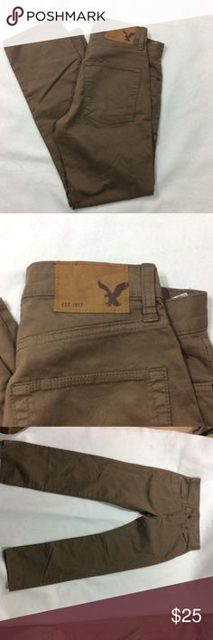 American eagle men's tan jeans 28/30 American eagle men's tan jeans size 28/30. Slim straight. Never worn. Inspection sticker still on jeans. But no tags. Smoke free home. American Eagle Outfitters Jeans Slim Straight