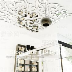 236 Ceiling Mirror Wall Sticker Home Decor Art Decal Christmas Papel De  Parede Paper Restaurant Decorative Lights InWall Stickers From Home . Part 63