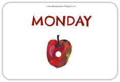 The Very Hungry Caterpillar days of the week free flashcards The Very Hungry Caterpillar Activities, Life Skills, Eric Carle, Blog, Cycle 3, English Class, Life Cycles, Storytelling, Teaching Ideas