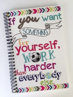 A personal favorite from my Etsy shop https://www.etsy.com/ca/listing/255675267/personalized-notebook-for-a-soccer