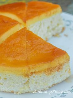 Custard Cake resembles a chiffon cake with a topping of sweetened milk and egg mixture known as custard. At first glance, this could be mistaken as a giant Leche Flan because the topping resembles one. Guess what? The topping of this cake is definitely Leche flan and the only distinction is the soft cake below.