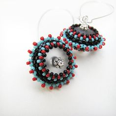 Black Beaded Earrings Long Silver Hoops Red and Blue by windyriver