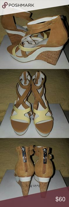 Perfect Summer Wedge Sandal - Calvin Klein Tan/Yellow. Tan is nubuck material, yellow is patent. Has silver back zippers. Calvin Klein Shoes Wedges