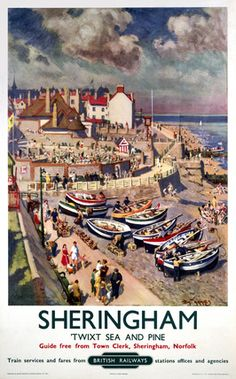 An poster sized print, approx (other products available) - Poster produced for British Railways (BR) to promote rail travel to Sheringham in Norfolk. Artwork by Tom W Armes. <br> - Image supplied by National Railway Museum - Poster printed in Australia Posters Uk, Train Posters, Railway Posters, National Railway Museum, British Seaside, British Rail, Seaside Resort, Vintage Travel Posters, Poster Size Prints