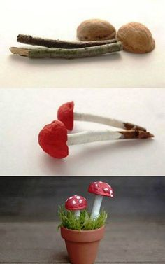 Toadstool The Effective Pictures We Offer You About easy craft bookmarks A quality picture can tell Autumn Crafts, Nature Crafts, Christmas Crafts, Nature Decor, Christmas Ornaments, Garden Crafts, Garden Art, Garden Projects, Garden Ideas