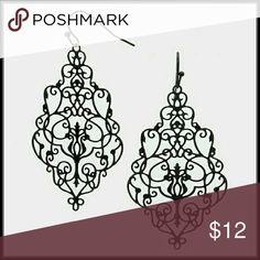 """Black Victorian Filigree Earrings Color : Black Size : 1.25"""" W, 2.3"""" L Fish Hook Back Victorian Filigree Pattern Cut Out Earrings Kary's Kreations  Jewelry Earrings"""