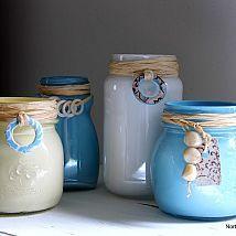 Beach Inspired Painted Jars