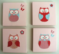 Handmade owl canvas baby or girl room. Decor picture & wall decal kids bedroom. Childrens nursery newborn gift
