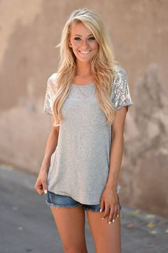 She Likes to Sparkle ~ Grey – The Pulse Boutique