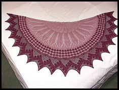 """""""Cactus Flower"""" knit lace-edged 2-color shawl in merino/silk fingering weight yarn (pattern by Rosemary Hill)"""