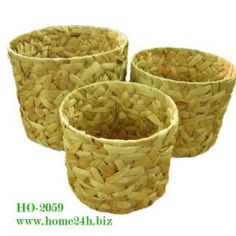 Selling-Water Hyacinth Baskets.  Set of 3 round shape. Crazy weave with iron frame. Please contact sales@home24h.biz