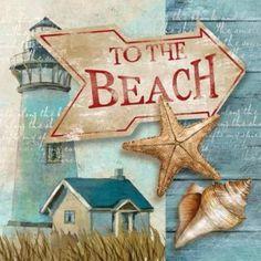 Decoupage Vintage, Decoupage Paper, Beach Canvas Art, Beach Wall Art, Beach Artwork, Art Carte, Photo Vintage, Beach Signs, Coastal Art
