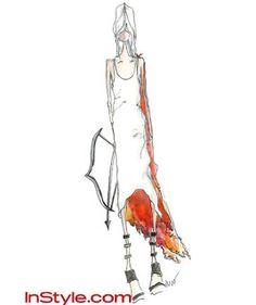 boceto para el vestido de fuego de la película los juegos del hambre