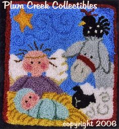 nativity punch needle Hook Punch, Christmas Punch, Bazaar Crafts, Punch Needle, Rug Hooking, Diy Projects To Try, Needlework, Applique, Cross Stitch
