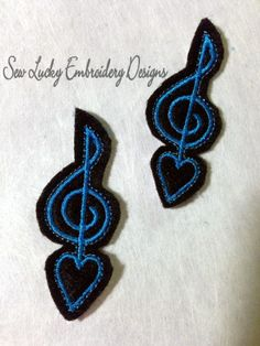 Music Note Feltie design - machine embroidery design- Many formats - INSTANT DOWNLOAD. $2.50, via Etsy.