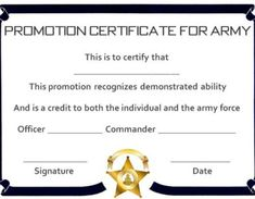 Promotion Certificate Template : Free Templates for Students, Employees & Army - Template Sumo Certificate Of Completion Template, Certificate Of Achievement Template, Free Printable Certificates, Certificate Format, Gift Certificate Template, Nursing Documentation, Super Reader, Unique Jobs, Job Promotion