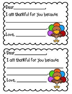 I Am Thankful For You. Printable Cards by Kearns' Kinder Thanksgiving Preschool, Fall Preschool, Thanksgiving Poems, School Holidays, School Fun, Star Wars Classroom, Teacher Cards, Teacher Worksheets, Kindergarten Activities