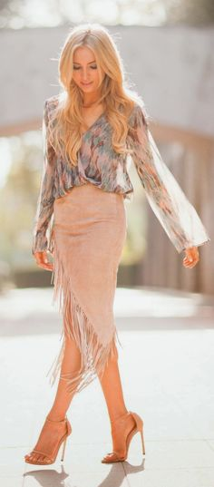 Fashion trends | Blush suede fringe skirt