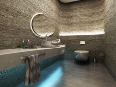 salle de bain moderne avec un beau luminaire et lavabo