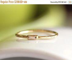 ON SALE 14K Solid Gold Baguette Diamond Engagement RingSimple