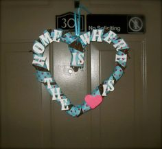 Home Is Where the Heart Is grapevine wreath by val_det of This Whole Mommy Thing! Look for this and other crafts, soon to make appearances on the blog!