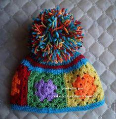 Gorro em crochê com quadradinhos da vovó (granny squares) - Katia Ribeiro  Crochê Moda b0f44b93eb8