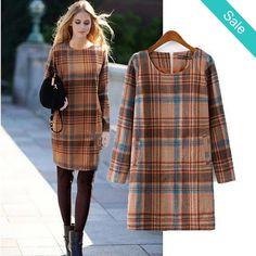 Plaid Wool Sheath Dress - Plaid Wool Sheath…