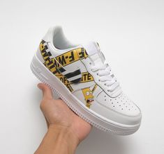 newest 37ffe 1fd8e The Nike Air Force 1 Customs featuring Off-White Diagonal Stripe with  Yellow Industrial Belt and Bart Simpson Print
