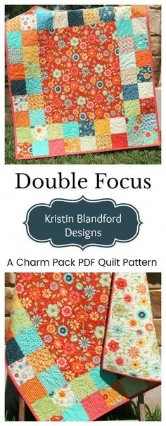 Double Focus Quilt Pattern - Charm Pack Friendly Beginner Simple Quick Easy Baby Pattern - Charm Pack Quilt Pattern for Beginners with Focal Fabrics, 5 inch Pre-cut Precut Moda Charm Packs, - Quilt Baby, Colchas Quilt, Baby Quilts To Make, Easy Quilts, Aqua Quilt, Quilt Binding, Owl Quilts, Star Quilts, Charm Pack Quilt Patterns