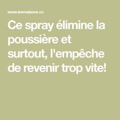 Ce spray élimine la poussière et surtout, l'empêche de revenir trop vite!