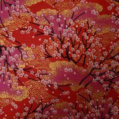 Tissu rouge, rose et doré cerisiers