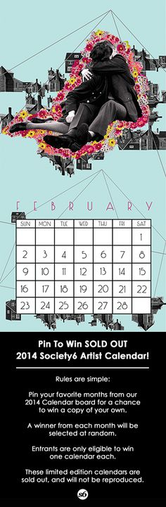 Art by Ceren Kilic. Pin for a chance to win a Sold Out 2014 Society6 Artist Calendar.