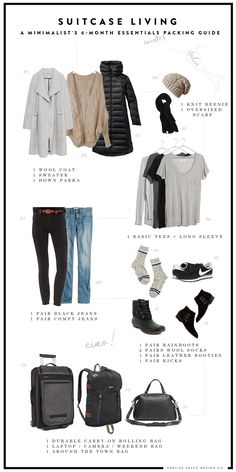 SUITCASE LIVING: A MINIMALIST'S 6 MONTH (WINTER) PACKING GUIDE | Anelise Salvo Design Co.