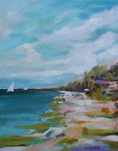 Original Seascape Beach Painting Bohemian by karenfieldsgallery, $100.00