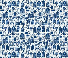 Delft..the city i love so well! fabric by bora on Spoonflower - custom fabric
