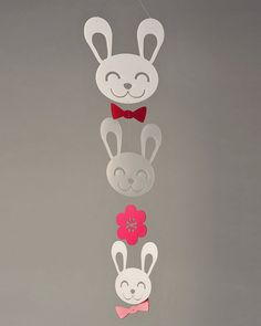 Spring Bunny Mobile Petite by daswooddesign on Etsy, $80.00